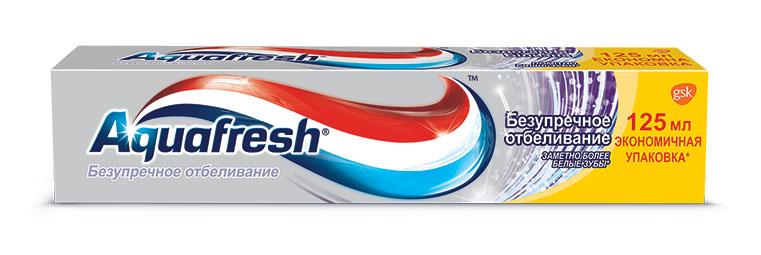 Aquafresh Зубная паста Безупречное отбеливание 125мл20011722Зубная паста Аquafresh Безупречное отбеливание обеспечивает тройную защиту полости рта: •Здоровые десны; •Крепкие зубы; •Свежее дыхание. ? Помогает сделать зубы заметно более белыми. Отбеливающие микрочастицы очищают, отбеливают и полируют зубы, и создают вокруг них невидимую защитную оболочку. Клинически доказано: более длительный эффект белоснежной улыбки.