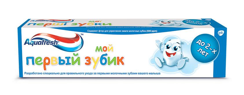 Aquafresh Зубная паста детская Мой первый зубик 0-2лет 50мл20010215Зубная паста Aquafresh Мой первый зубик (0-2 года), 50мл. Содержит фтор для укрепления эмали молочных зубов (500 ppm). Разработано специально для правильного ухода за первыми молочными зубами вашего малыша в возрасте до 2 лет. Паста обеспечивает бережный уход и защищает от кариеса молочные зубы вашего ребенка, благодаря чему постоянные зубы будут расти здоровыми и крепкими.