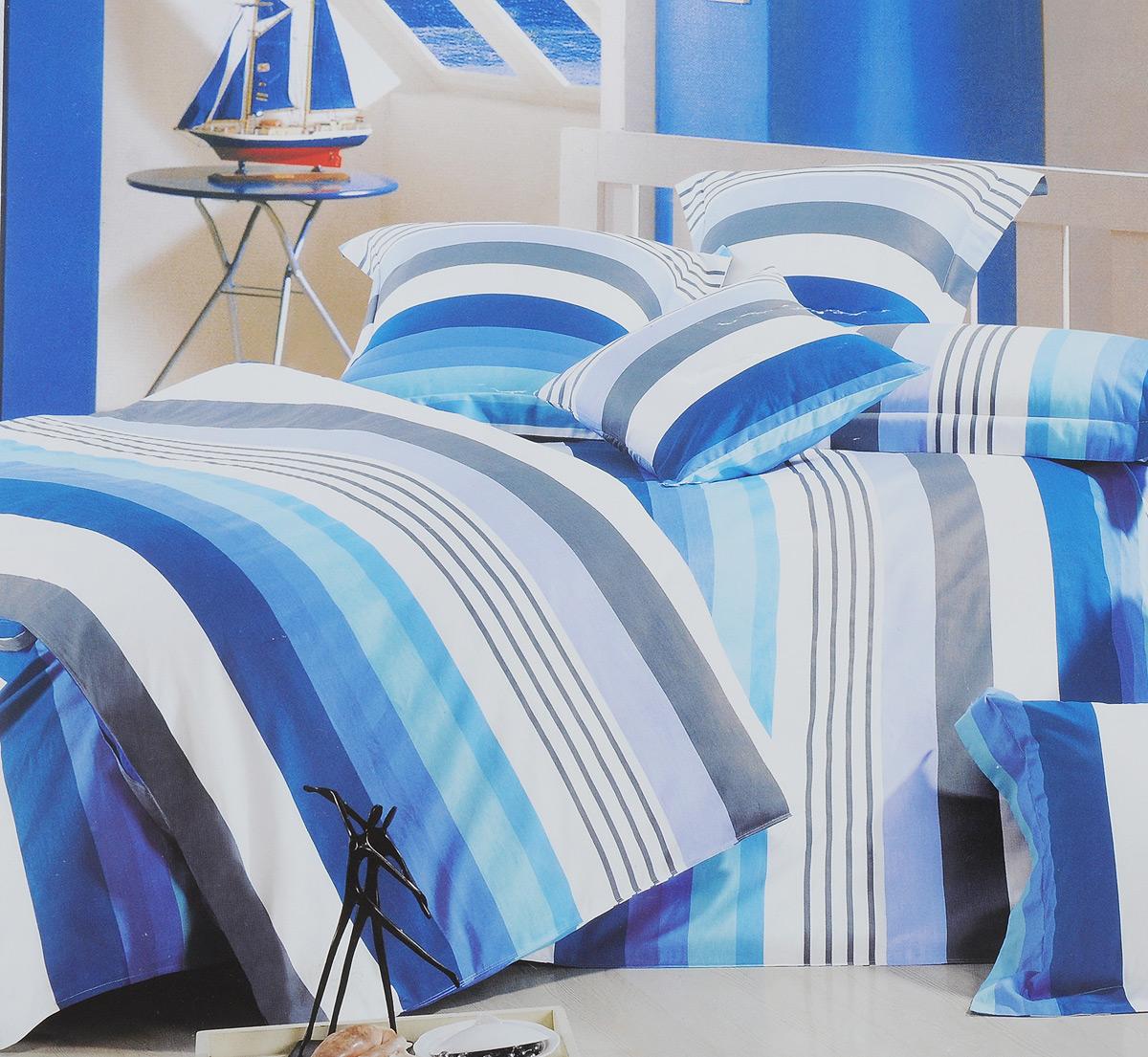 Комплект белья МарТекс Лагуна, евро, наволочки 50х70, 70х70, цвет: белый, голубой, синий01-0204-3Комплект постельного белья МарТекс Лагуна состоит из пододеяльника на молнии, простыни, двух наволочек 50х70 и двух наволочек 70х70. Постельное белье оформлено цветными полосками и имеет изысканный внешний вид. Сатин - производится из высших сортов хлопка, а своим блеском, легкостью и на ощупь напоминает шелк. Такая ткань рассчитана на 200 стирок и более. Постельное белье из сатина превращает жаркие летние ночи в прохладные и освежающие, а холодные зимние - в теплые и согревающие. Благодаря натуральному хлопку, комплект постельного белья из сатина приобретает способность пропускать воздух, давая возможность телу дышать. Одно из преимуществ материала в том, что он практически не мнется и ваша спальня всегда будет аккуратной и нарядной. Приобретая комплект постельного белья МарТекс Лагуна, вы можете быть уверенны в том, что покупка доставит вам и вашим близким удовольствие и подарит максимальный комфорт.