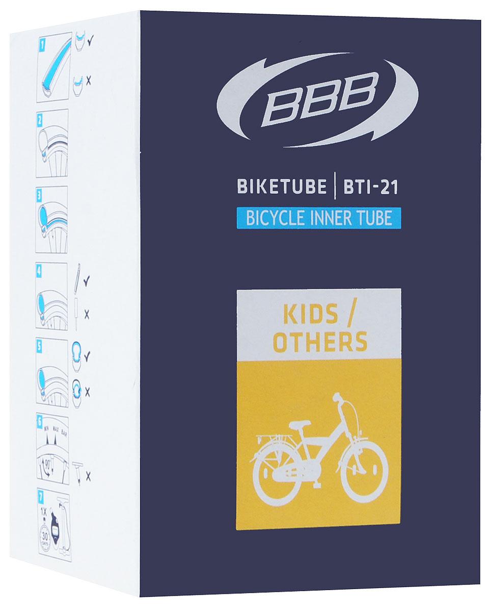 Камера велосипедная BBB, 20, 1,75-2,125 AVBTI-21Камера BBB изготовлена из долговечного резинового компаунда. Никаких швов, которые могут пропускать воздух. Достаточно большая для защиты от проколов и достаточно небольшая для снижения веса. Велосипедные камеры - обязательный атрибут каждого велосипедиста! Никогда не выезжайте из дома на велосипеде, не взяв с собой запасную велосипедную шину! Диаметр колеса: 20. Допустимый размер сечения покрышки: 1,75-2,125. Автомобильный ниппель (Shrader): 33 мм. Толщина стенки: 0,87 мм.