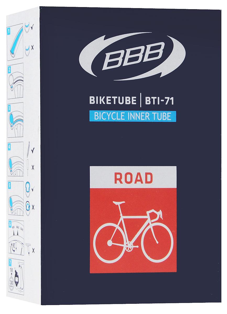 Камера велосипедная BBB, 28, 18, 25C F, V, 60 ммBTI-71Для шоссейного велосипеда Размер колеса: 28 Велониппель (Presta) 60 мм Камеры BBB изготовлены из долговечного резинового компаунда. Никаких швов, которые могут пропускать воздух. Толщина стенки: 0.87 мм. Достаточно большая для защиты от проколов и достаточно небольшая для снижения веса.