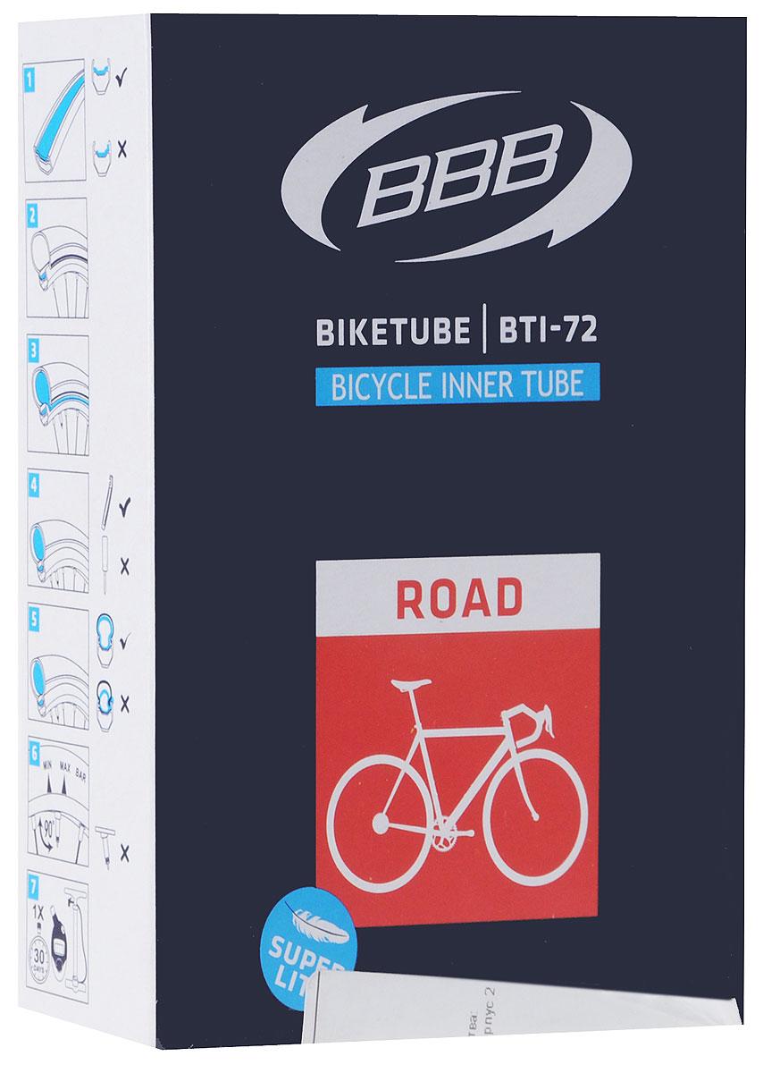 Камера велосипедная BBB, 28, 18, 25C F, V, Super Lite, 80 ммBTI-72Камера BBB изготовлена из долговечного резинового компаунда. Никаких швов, которые могут пропускать воздух. Достаточно большая для защиты от проколов и достаточно небольшая для снижения веса. Велосипедные камеры - обязательный атрибут каждого велосипедиста! Никогда не выезжайте из дома на велосипеде, не взяв с собой запасную велосипедную шину! Диаметр колеса: 28. Допустимый размер сечения покрышки: 18/23. Велониппель (Presta): 80 мм. Толщина стенки: 0,87 мм.