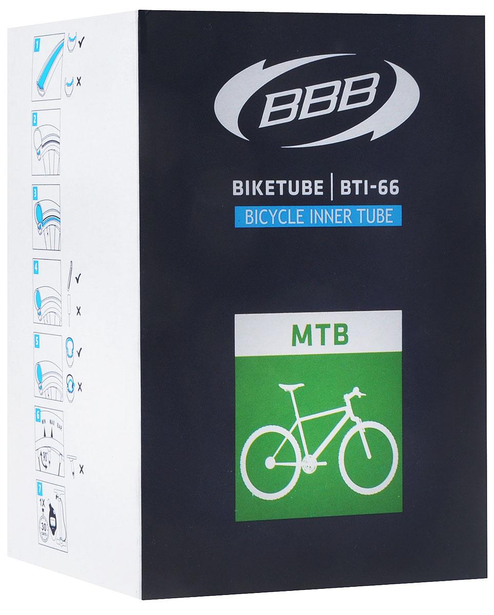 Камера велосипедная BBB, 27,5, 2,1-2,35 AVBTI-68Камера BBB изготовлена из долговечного резинового компаунда. Никаких швов, которые могут пропускать воздух. Достаточно большая для защиты от проколов и достаточно небольшая для снижения веса. Велосипедные камеры - обязательный атрибут каждого велосипедиста! Никогда не выезжайте из дома на велосипеде, не взяв с собой запасную велосипедную шину! Диаметр колеса: 27,5. Допустимый размер сечения покрышки: 2,1-2,35. Ниппель (Presta): 33 мм. Толщина стенки: 0,87 мм.