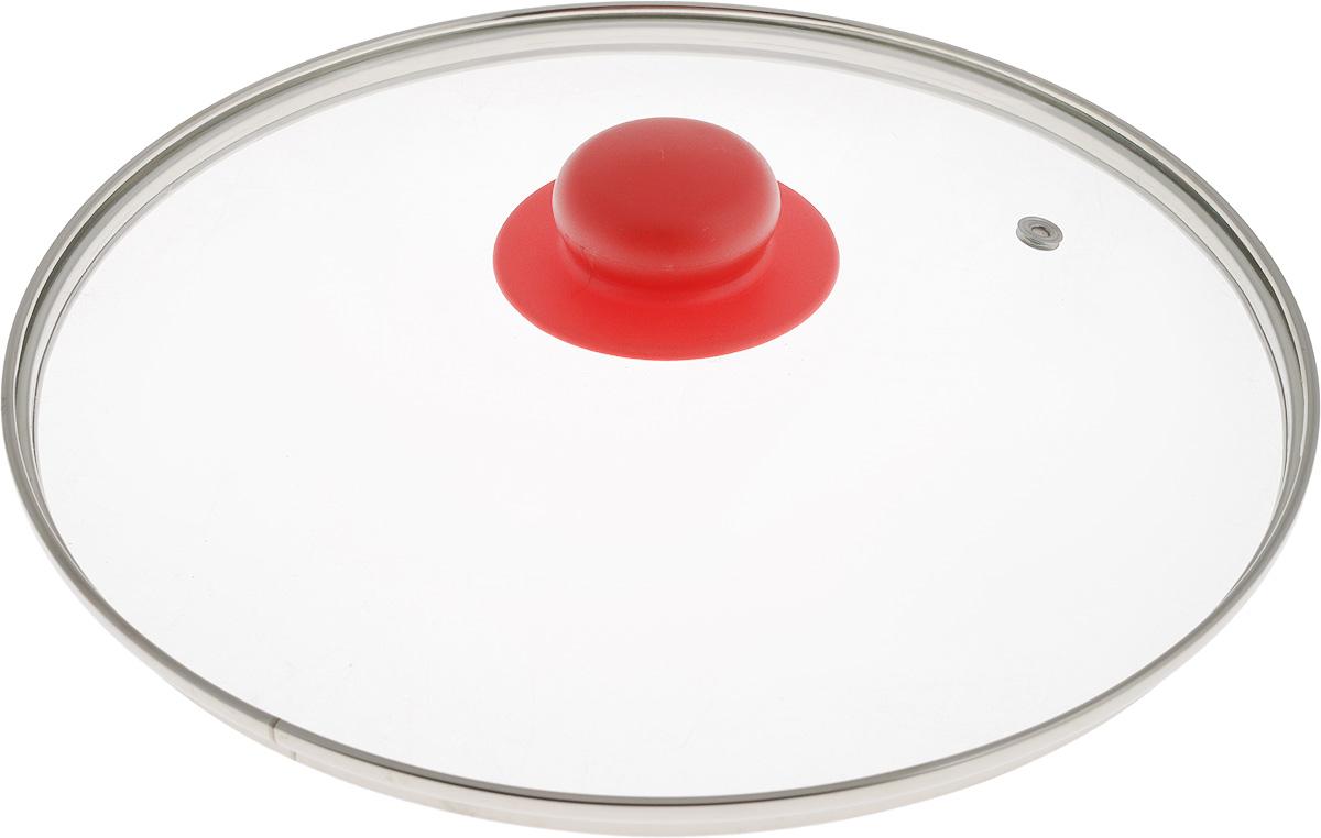 Крышка NaturePan, с металлическим ободом, цвет: красный, прозрачный. Диаметр 26 смЛ4889Крышка NaturePan, изготовленная из жаропрочного стекла, оснащена металлическим ободом, пластиковой ручкой и отверстием для выпуска пара. Окантовка предохраняет от механических повреждений. Изделие удобно в использовании и позволяет контролировать процесс приготовления пищи. Можно мыть в посудомоечной машине. Диаметр крышки: 24 см. Диаметр ручки: 4,5 см. Высота ручки: 2,5 см.