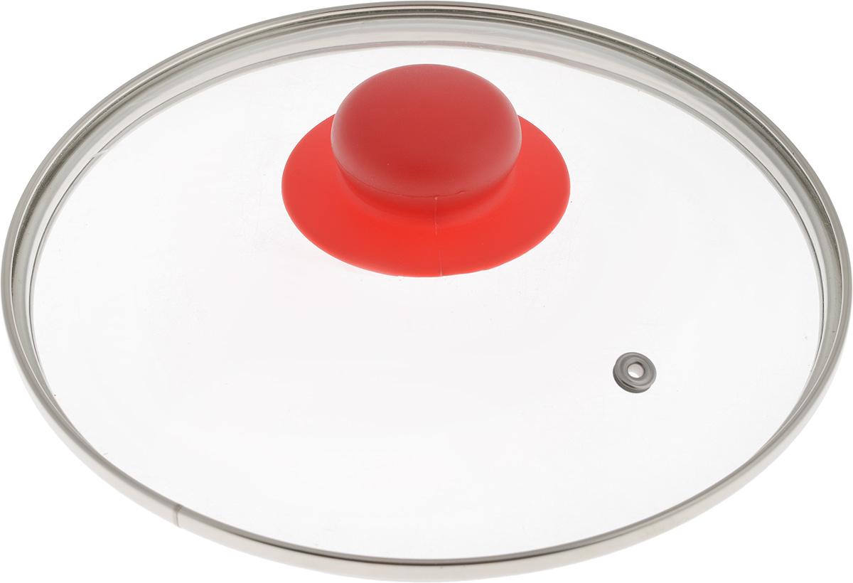 Крышка NaturePan, цвет: красный, прозрачный. Диаметр 20 смЛ4886Крышка NaturePan, изготовленная из жаропрочного стекла, оснащена металлическим ободом, пластиковой ручкой и отверстием для выпуска пара. Окантовка предохраняет от механических повреждений. Изделие удобно в использовании и позволяет контролировать процесс приготовления пищи. Можно мыть в посудомоечной машине. Диаметр крышки: 20 см. Диаметр ручки: 4,5 см. Высота ручки: 2,5 см.