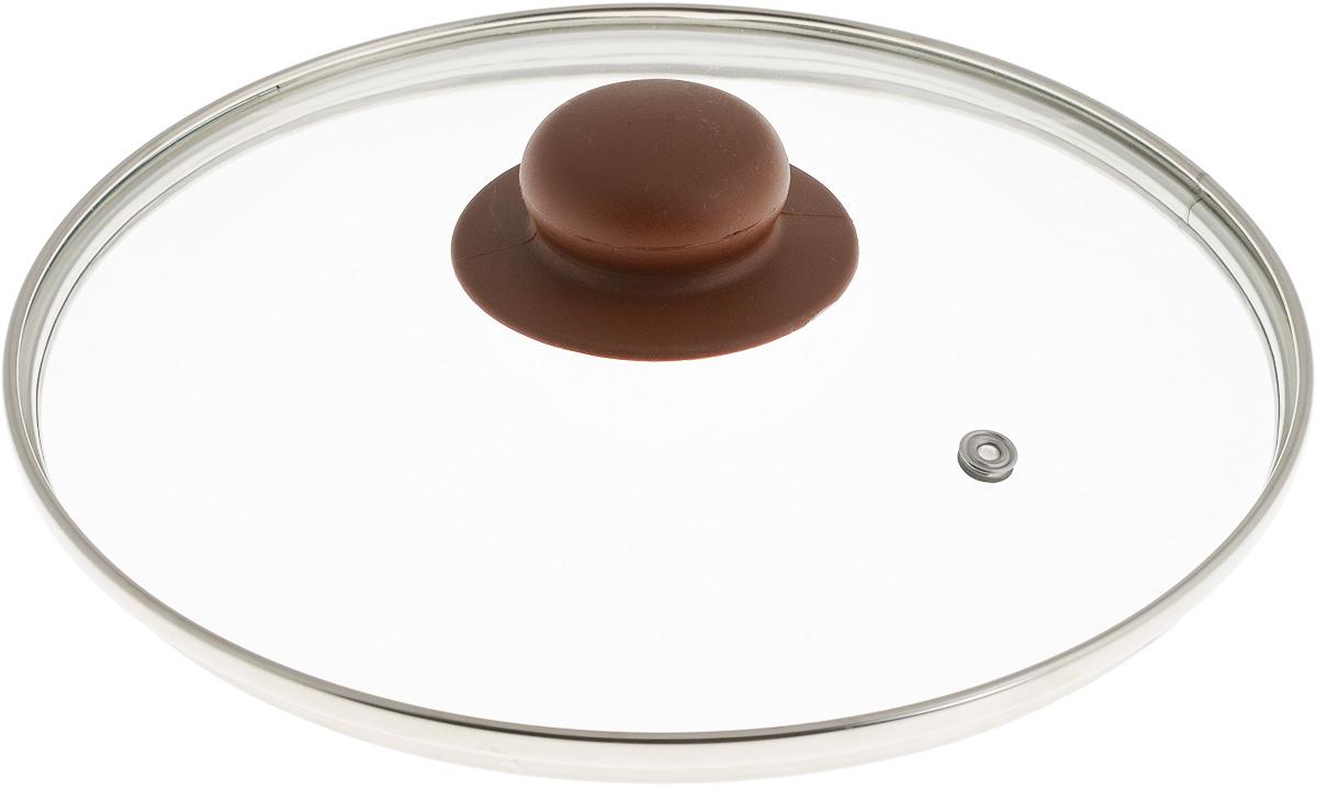 Крышка NaturePan, с металлическим ободом, цвет: коричневый, прозрачный. Диаметр 22 см. Л4892Л4892Крышка NaturePan, изготовленная из жаропрочного стекла, оснащена металлическим ободом, пластиковой ручкой и отверстием для выпуска пара. Окантовка предохраняет от механических повреждений. Изделие удобно в использовании и позволяет контролировать процесс приготовления пищи. Можно мыть в посудомоечной машине. Диаметр крышки: 22 см. Диаметр ручки: 4,5 см. Высота ручки: 2,5 см.
