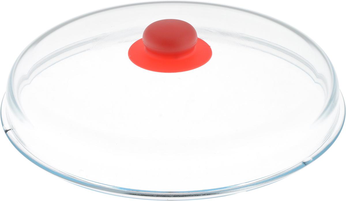 Крышка NaturePan, высокая, цвет: прозрачный, красный. Диаметр 28 смЛ4869Крышка NaturePan изготовлена из термостойкого и экологически чистого стекла с пластиковой ручкой. Изделие имеет высокую конструкцию, оно удобно в использовании и позволяет контролировать процесс приготовления пищи. Можно мыть в посудомоечной машине. Диаметр крышки: 28 см. Диаметр ручки: 4,5 см. Высота ручки: 2,5 см. Высота крышки (с учетом ручки): 8 см.