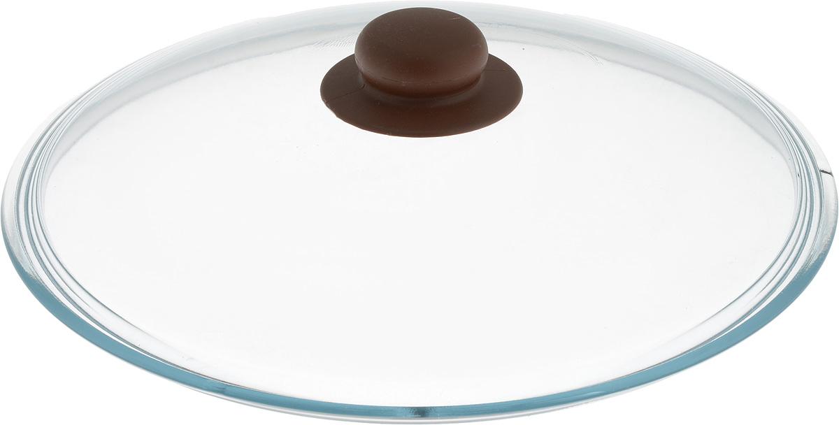 Крышка NaturePan, цвет: коричневый, прозрачный. Диаметр 28 смЛ4882Крышка NaturePan изготовлена из термостойкого и экологически чистого стекла с пластиковой ручкой. Изделие удобно в использовании и позволяет контролировать процесс приготовления пищи. Можно мыть в посудомоечной машине. Диаметр крышки: 28 см. Диаметр ручки: 4,5 см. Высота ручки: 2,5 см.