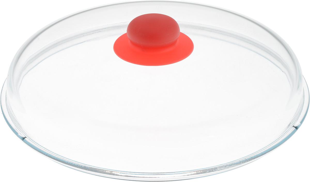 Крышка NaturePan, высокая, цвет: прозрачный, красный. Диаметр 26 смЛ4868Крышка NaturePan изготовлена из термостойкого и экологически чистого стекла с пластиковой ручкой. Изделие имеет высокую конструкцию, оно удобно в использовании и позволяет контролировать процесс приготовления пищи. Можно мыть в посудомоечной машине. Диаметр крышки: 26 см. Диаметр ручки: 4,5 см. Высота ручки: 2,5 см. Высота крышки (с учетом ручки): 8 см.
