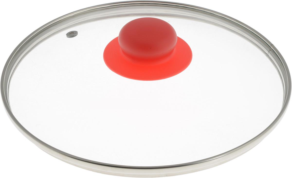 Крышка NaturePan, с металлическим ободом, цвет: красный, прозрачный. Диаметр 22 смЛ4887Крышка NaturePan, изготовленная из жаропрочного стекла, оснащена металлическим ободом, пластиковой ручкой и отверстием для выпуска пара. Окантовка предохраняет от механических повреждений. Изделие удобно в использовании и позволяет контролировать процесс приготовления пищи. Можно мыть в посудомоечной машине. Диаметр крышки: 22 см. Диаметр ручки: 4,5 см. Высота ручки: 2,5 см.