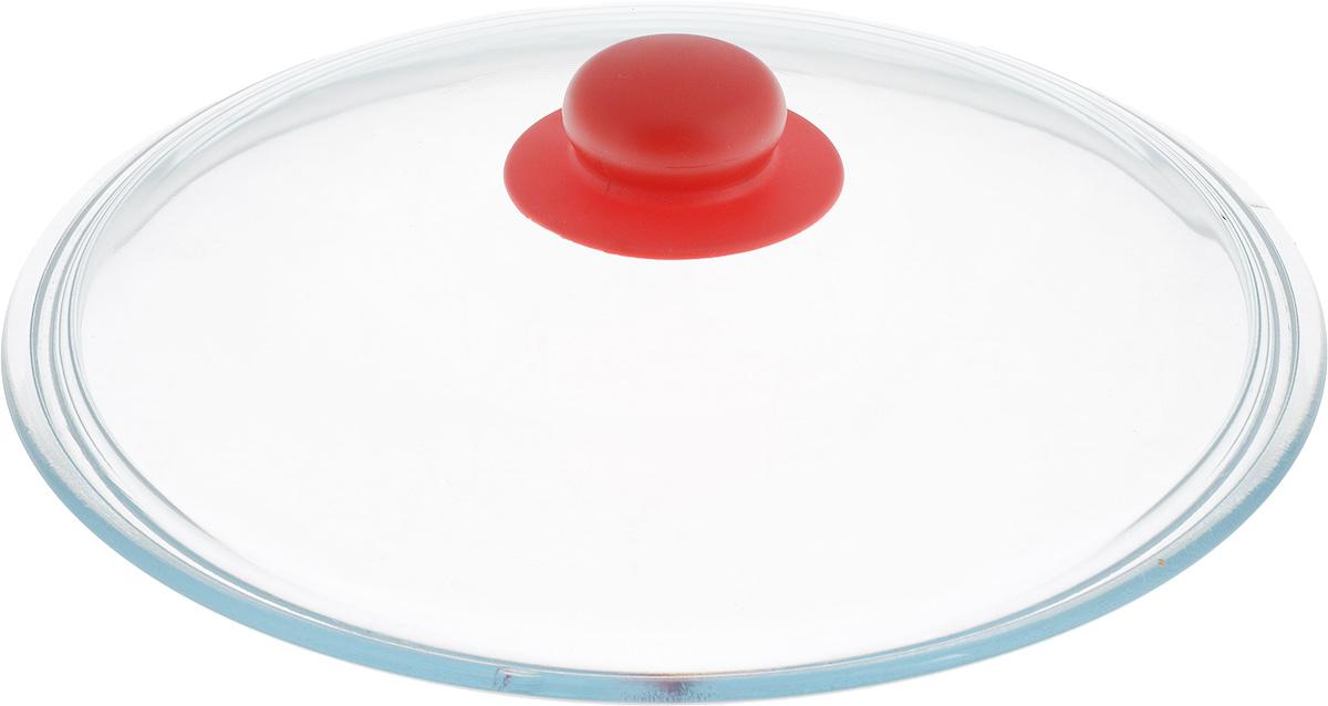 Крышка NaturePan, цвет: красный, прозрачный. Диаметр 26 смЛ4873Крышка NaturePan изготовлена из термостойкого и экологически чистого стекла с пластиковой ручкой. Изделие удобно в использовании и позволяет контролировать процесс приготовления пищи. Можно мыть в посудомоечной машине. Диаметр крышки: 26 см. Диаметр ручки: 4,5 см. Высота ручки: 2,5 см.