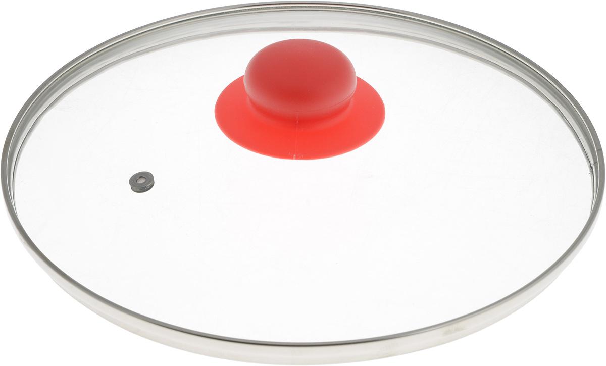 Крышка NaturePan, с металлическим ободом, цвет: красный, прозрачный. Диаметр 24 смЛ4888Крышка NaturePan, изготовленная из жаропрочного стекла, оснащена металлическим ободом, пластиковой ручкой и отверстием для выпуска пара. Окантовка предохраняет от механических повреждений. Изделие удобно в использовании и позволяет контролировать процесс приготовления пищи. Можно мыть в посудомоечной машине. Диаметр крышки: 24 см. Диаметр ручки: 4,5 см. Высота ручки: 2,5 см.