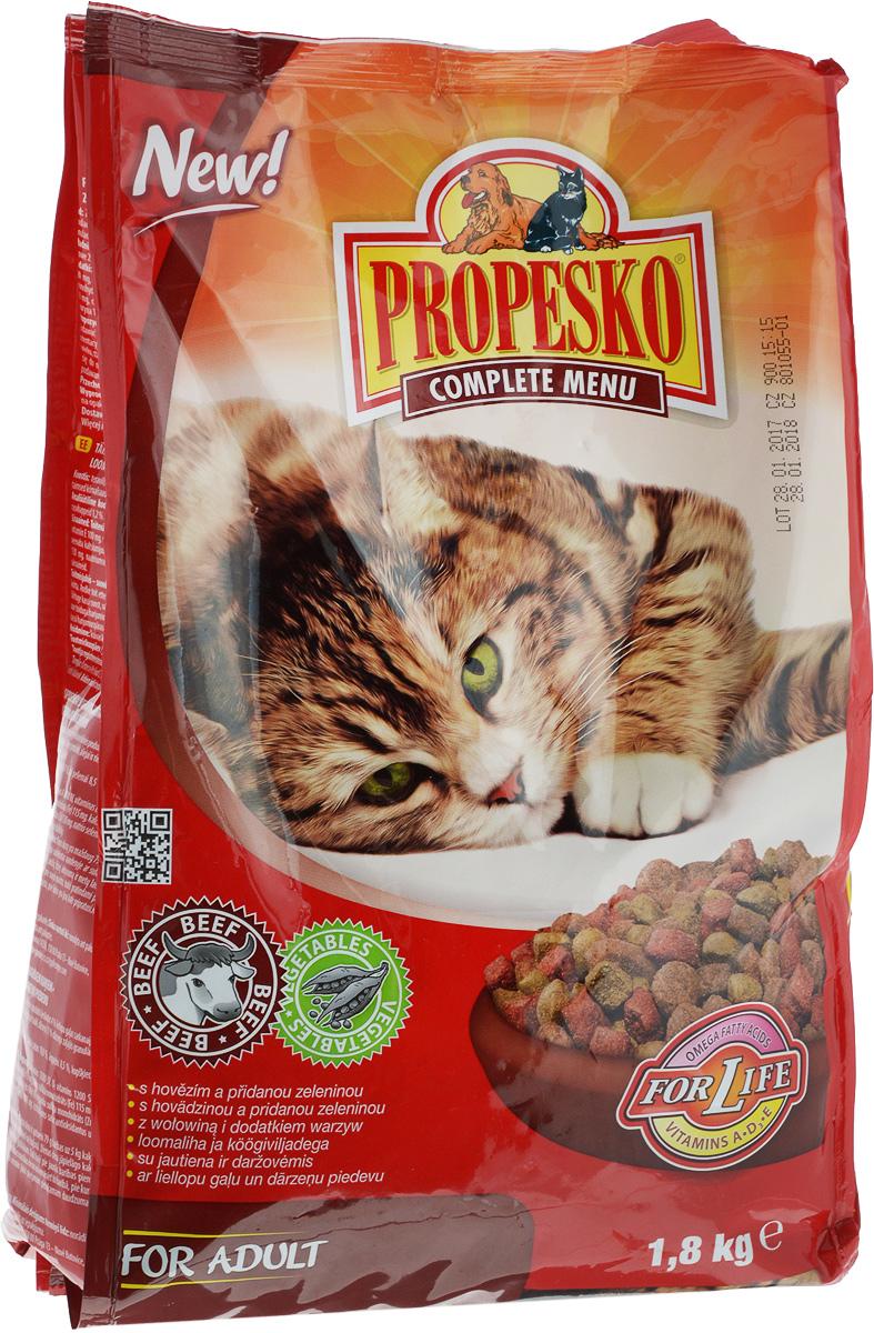 Корм сухой для кошек Propesko, с говядиной и овощами, 1,8 кг14516Сухой корм для кошек Propesko с мясом говядины и овощами - полнорационное питание для кошек всех пород. Содержание белка обеспечивает достаточный запас энергии в течение дня, витамин А - хорошее зрение и витамин D3 помогает держать кости и зубы крепкими. Корм Propesko содержит три типа сухих гранул, которые сделаны из куриного мяса, обогащены овощами, а также другими полезными добавками для того, чтобы обеспечить кошке хорошее здоровье, пушистый мех, крепкие зубы и кости, острое зрение, максимальную усвояемость. Оптимальный состав, высококачественное сырье и хорошо усваиваемые компоненты обеспечивают кошку животным и растительным белком, животным жиром и растительными маслами. Корм обогащается минералами, микроэлементами и витаминами А, D3, E. Это гарантирует вашей кошке хорошее здоровье и отличную физическую форму. Товар сертифицирован.