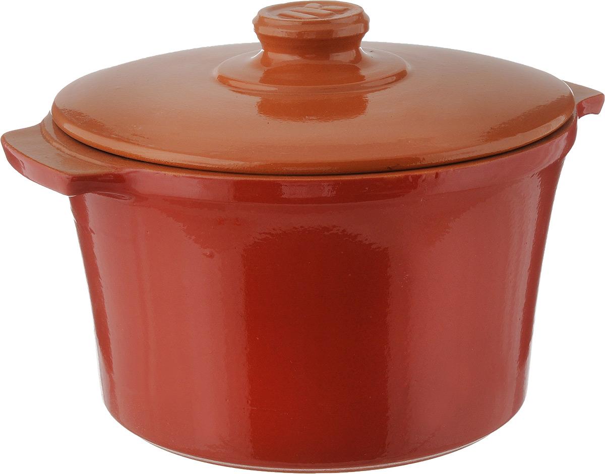 Кастрюля Ломоносовская керамика, 3 л, керамическая крышка. Цвет: красный. 1КТкр-31КТкр-3