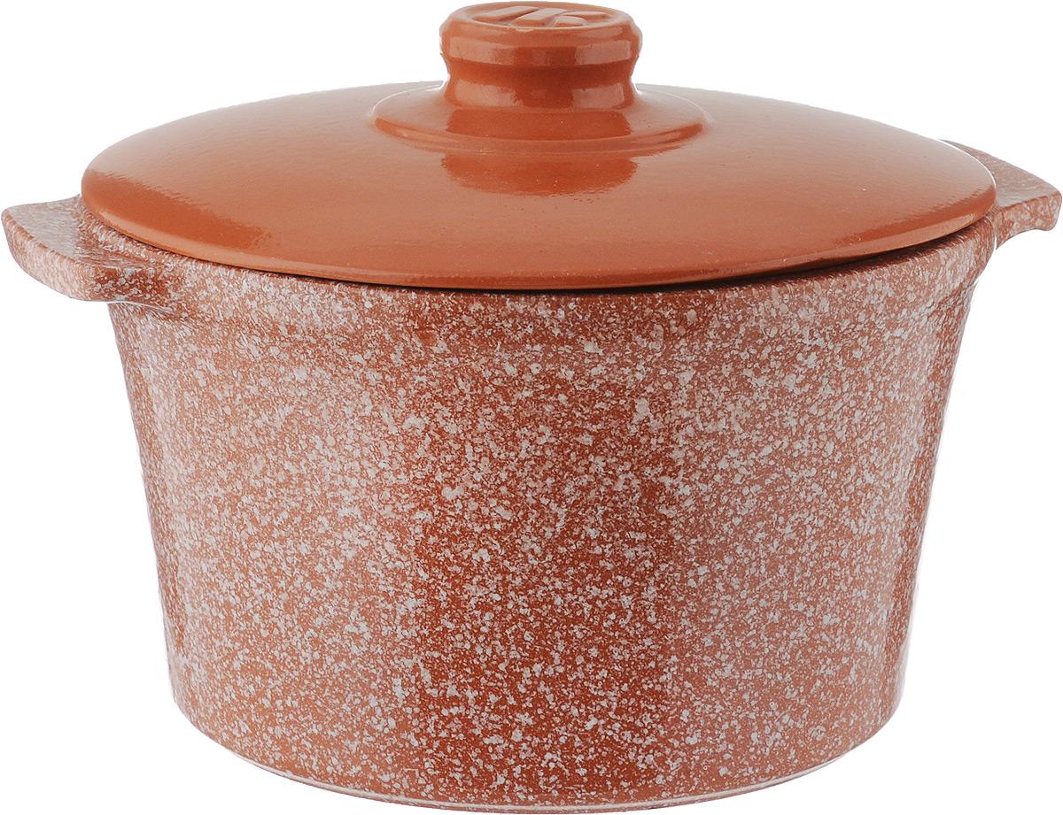 Кастрюля Ломоносовская керамика, 3 л, керамическая крышка. Цвет: мрамор, терракотовый. 1КТмт-31КТмт-3