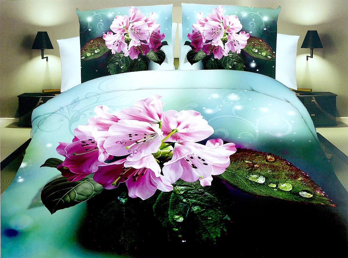 Комплект белья МарТекс Гортензия, 1,5-спальный, наволочки 70х70. 01-1278-101-1278-1