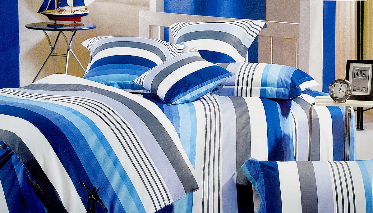 Комплект белья МарТекс Лагуна, 2-спальный, наволочки 70х70, цвет: синий, белый, серый01-0167-2Комплект постельного белья МарТекс Лагуна состоит из пододеяльника, простыни и двух наволочек и изготовлен из качественного сатина. Постельное белье оформлено оригинальным ярким рисунком и имеет изысканный внешний вид. Сатин - вид ткани, произведенный из натурального хлопка. Материал имеет все свойства хлопка: не аллергенен, прочен, почти не мнется и хорошо гладится. Благодаря натуральному хлопку, постельное белье приобретает способность пропускать воздух, давая возможность телу дышать. Приобретая комплект постельного белья МарТекс, вы можете быть уверенны в том, что покупка доставит вам и вашим близким удовольствие и подарит максимальный комфорт.