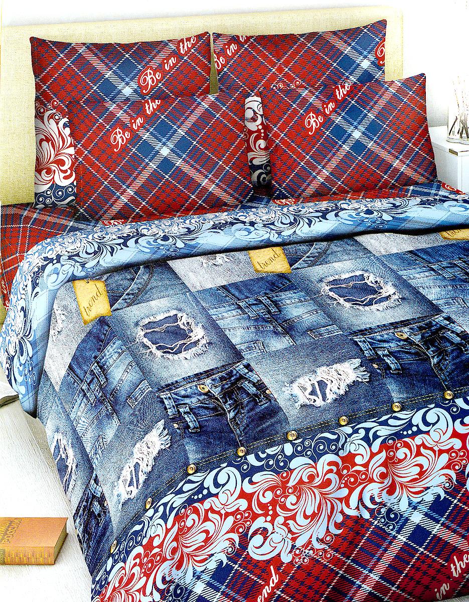 Комплект белья МарТекс Василиса, 2-спальный, наволочки 70х70, цвет: синий джинс, красный01-1018-2Комплект постельного белья МарТекс Василиса состоит из пододеяльника, простыни и двух наволочек. Постельное белье оформлено оригинальным ярким рисунком и имеет изысканный внешний вид. Комплект изготовлен из качественной хлопчатобумажной бязи. Поверхность материи - ровная и матовая на вид, одинаковая с обеих сторон. Ткань экологична, гипоаллергенная, износостойкая. Это отличный материал для постельного белья. Приобретая комплект постельного белья МарТекс, вы можете быть уверенны в том, что покупка доставит вам и вашим близким удовольствие и подарит максимальный комфорт.