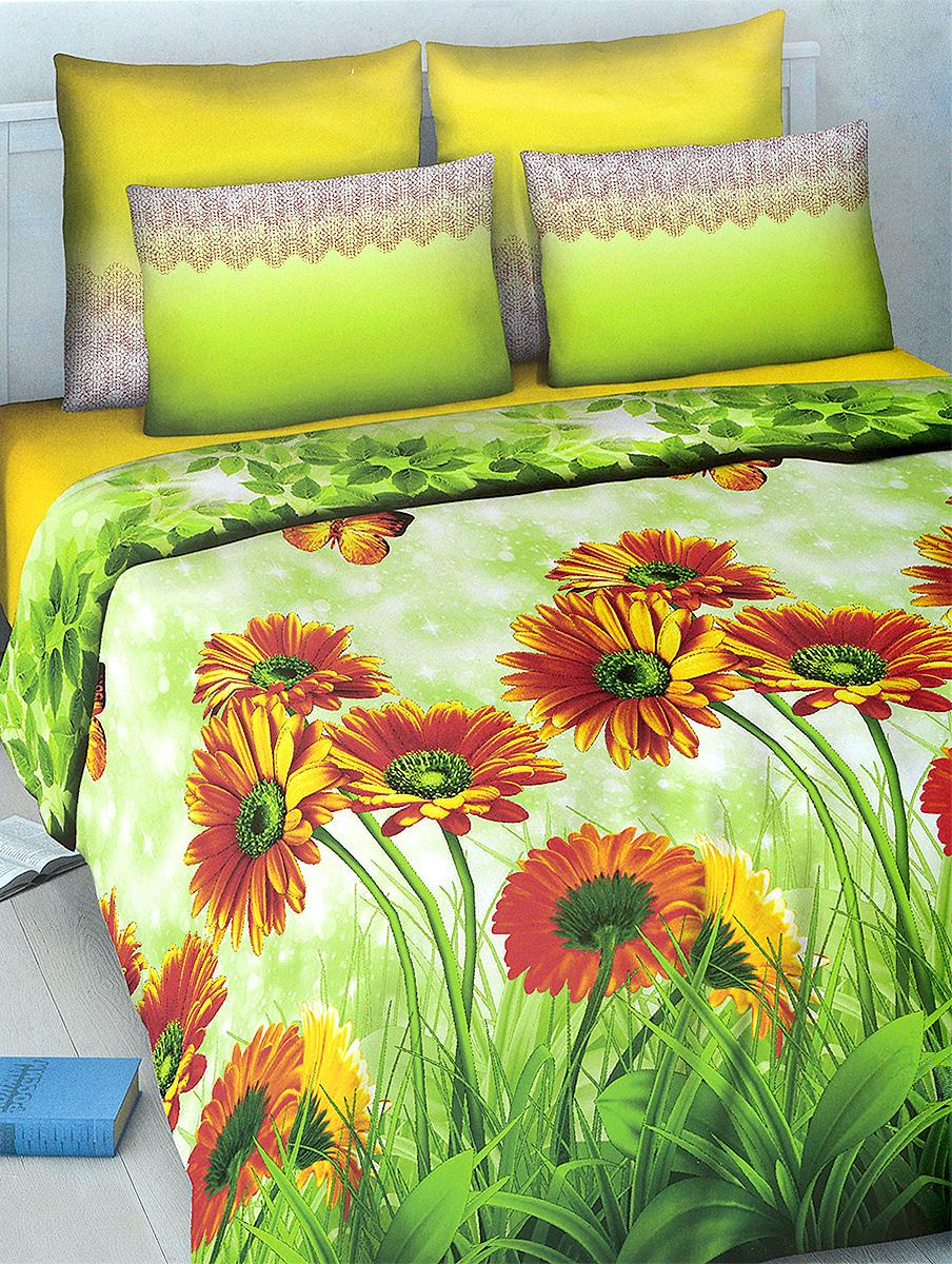 Комплект белья МарТекс Василиса, 2-спальный, наволочки 70х70, цвет: зеленый, оранжевый01-1021-2Комплект постельного белья МарТекс Василиса состоит из пододеяльника, простыни и двух наволочек. Постельное белье оформлено оригинальным ярким рисунком и имеет изысканный внешний вид. Комплект изготовлен из качественной хлопчатобумажной бязи. Поверхность материи - ровная и матовая на вид, одинаковая с обеих сторон. Ткань экологична, гипоаллергенная, износостойкая. Это отличный материал для постельного белья. Приобретая комплект постельного белья МарТекс, вы можете быть уверенны в том, что покупка доставит вам и вашим близким удовольствие и подарит максимальный комфорт.