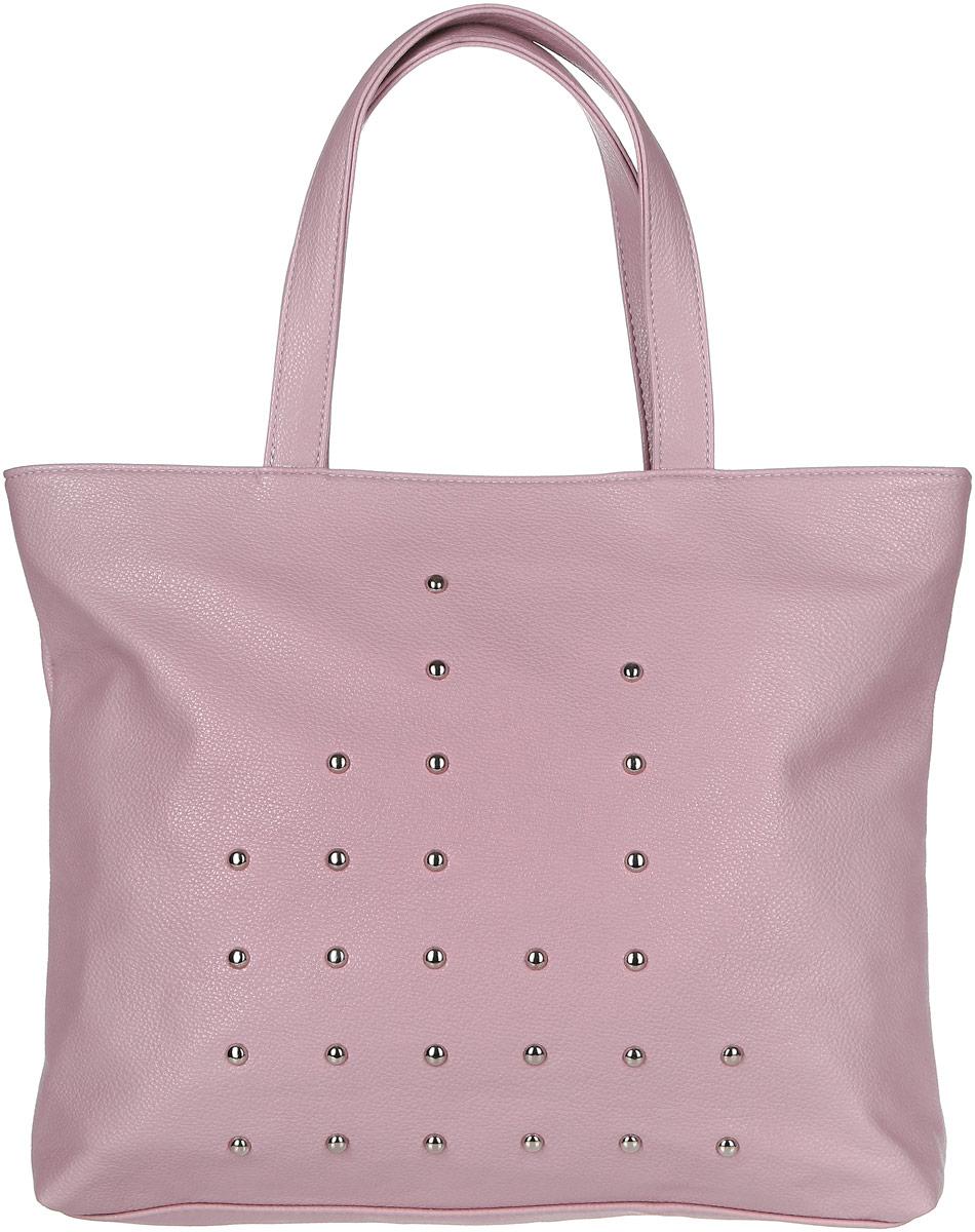Сумка женская Медведково, цвет: пыльно-розовый. 17с3367-к1417с3367-к14Вместительная женская сумка Медведково исполнена из экокожи высокого качества зернистой текстуры и оформлена металлическими полусферами по периметру фасада. Имеет одно просторное отделение. В отделении присутствуют один прорезной карман на застежке-молнии и два накладных кармашка под сотовый телефон или для мелочей. Снаружи, на задней стенке сумки так же имеется прорезной карман на молнии для быстрого доступа к часто используемым вещам. Сумка обладает двумя удобными для переноски ручками. С такой сумкой можно комфортно и элегантно отправляться за покупками. Благодаря вместительному отделению без разделителей в сумку могут помещаться вещи различных габаритов, что очень практично.