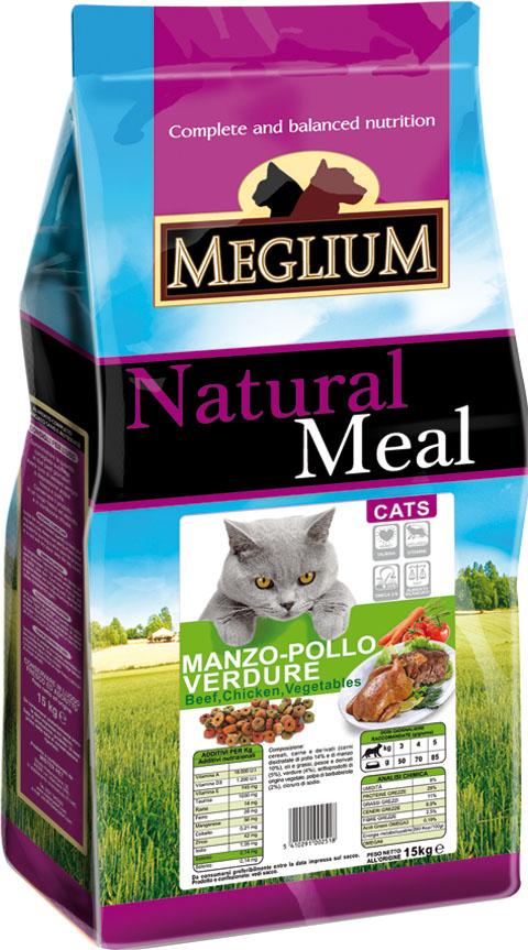Корм сухой Meglium Adult для кошек, говядина курица овощи, 3 кг63996Состав: дегидрированное мясо (35%, из которого куриного мяса 14% и говядины 10%), кукуруза, пшеница, куриный жир, рыбная мука (5%), овощи (4%), сушеная мякоть свеклы (2%), минеральные вещества. Пищевые добавки на кг: Витамин A 18000 UI, Витамин D3 1200 UI, Витамин E 145 мг, E4 пентагидрат сульфата меди 55 мг, E1 карбонат железа 58 мг, E5 оксид марганца 73 мг, E6 моногидрат сульфата цинка 173 мг, E2 йодистый калий 1,4 мг, E8 селенит натрия 0,31 мг, таурин 1000 мг. Аналитические компоненты: влага 8%, сырой белок 28%, сырые масла и жиры 11%, сырая зола 8,1%, сырая клетчатка 2,5%, жирные кислоты Омега-3 0,19%, жирные кислоты Омега-6 2,6%. Энергетическая ценность: 3500 кКал/кг.
