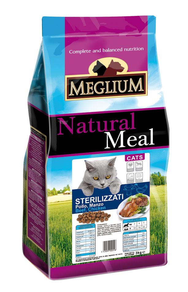 Корм сухой Meglium Neutered для стерилизованных кошек, рыба курица, 3 кг64000Состав: дегидрированное мясо (34%, из которого куриного мяса 16% и говядины 10%), кукуруза, пшеница, куриный жир, рыбная мука (4%), сушеная мякоть свеклы (2%), минеральные вещества. Пищевые добавки на кг: 3a672a Витамин A 18000 UI, Витамин D3 1200 UI, 3a700 Витамин E 145 мг, E4 пентагидрат сульфата меди 55 мг, E1 карбонат железа 58 мг, E5 оксид марганца 73 мг, E6 моногидрат сульфата цинка 173 мг, E2 йодистый калий 1,4 мг, E8 селенит натрия 0,31 мг, таурин 1000 мг. Аналитические компоненты: влага 8%, сырой белок 28%, сырые масла и жиры 11%, сырая зола 7,9%, сырая клетчатка 3,8%, жирные кислоты Омега-3 0,19%, жирные кислоты Омега-6 2,6%. Энергетическая ценность: 3500 кКал/кг.