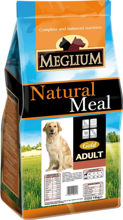 Корм сухой Meglium Adult Gold для взрослых собак, 3 кг64006Состав: дегидрированное мясо (31%, из которого говядины 16% и куриного мяса 15%), кукуруза, пшеница, кукурузная мука, куриный жир, сушеная мякоть цикория (2%), минеральные вещества. Пищевые добавки на кг: 3a672a Витамин A 11250 UI, Витамин D3 800 UI, 3a700 Витамин E 95 мг, E4 пентагидрат сульфата меди 40 мг, E1 карбонат железа 42 мг, E5 оксид марганца 52 мг, E6 моногидрат сульфата цинка 124 мг, E2 йодистый калий 1 мг, E8 селенит натрия 0,22 мг. Аналитические компоненты: влага 8%, сырой белок 24%, сырые масла и жиры 12%, сырая зола 8,5%, сырая клетчатка 2,6%, соотношение кальций/фосфор 1,4:1. Энергетическая ценность: 3550 кКал/кг.
