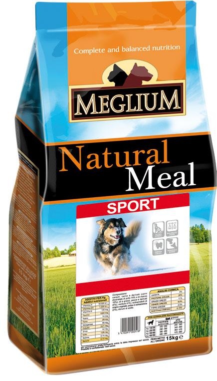 Корм сухой Meglium Sport для активных собак, 3 кг64011Состав: кукуруза, дегидрированное мясо (32%), пшеница, куриный жир, сушеная мякоть цикория (2%), минеральные вещества. Пищевые добавки на кг: 3a672a Витамин A 7000 UI, Витамин D3 500 UI, 3a700 Витамин E 60 мг, E4 пентагидрат сульфата меди 23 мг, E1 карбонат железа 25 мг, E5 оксид марганца 31 мг, E6 моногидрат сульфата цинка 74 мг, E2 йодистый калий 0,6 мг, E8 селенит натрия 0,13 мг. Аналитические компоненты: влага 8%, сырой белок 28%, сырые масла и жиры 14%, сырая зола 8,8%, сырая клетчатка 2,6%. Энергетическая ценность: 3800 кКал/кг.