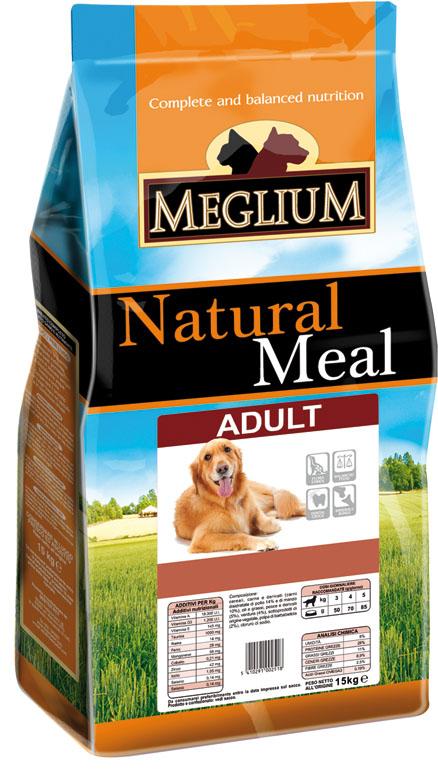 Корм сухой Meglium Maintenance Adult для взрослых собак, 15 кг64015Состав: кукуруза, дегидрированное мясо (25%), пшеница, куриный жир, сушеная мякоть цикория (2%), минеральные вещества. Пищевые добавки на кг: 3a672a Витамин A 9000 UI, Витамин D3 600 UI, 3a700 Витамин E 75 мг, E4 пентагидрат сульфата меди 32 мг, E1 карбонат железа 33 мг, E5 оксид марганца 42 мг, E6 моногидрат сульфата цинка 99 мг, E2 йодистый калий 0,8 мг, E8 селенит натрия 0,18 мг. Аналитические компоненты: Влага 8%, сырой белок 23%, сырые масла и жиры 9%, сырая зола 9,3%, сырая клетчатка 3%, соотношение кальций/фосфор 1,3:1. Энергетическая ценность: 3300 кКал/кг.