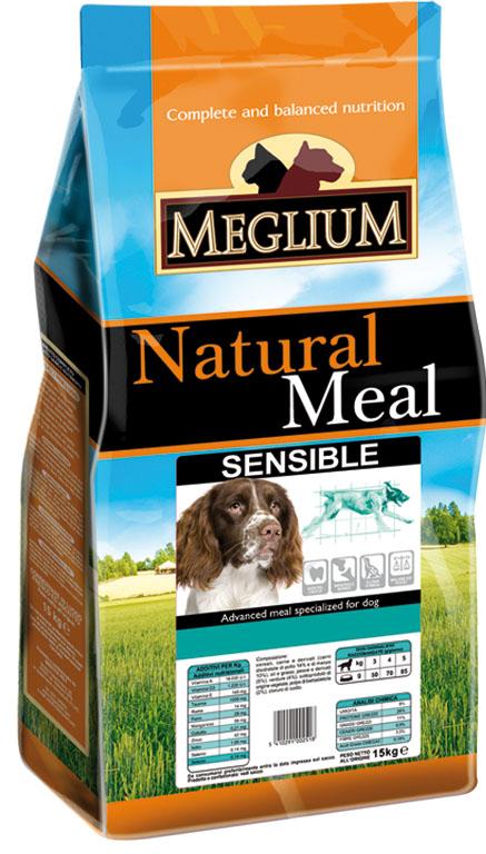 Корм сухой Meglium Sensible для взрослых собак с чувствительным пищеварением, 15 кг64016Состав: дегидрированное мясо (30%, из которого баранина 8%), кукуруза, рис (15%), пшеница, кукурузная мука, куриный жир, сушеная мякоть свеклы (2%), дрожжи, минеральные вещества. Пищевые добавки на кг: 3a672a Витамин A 13500 UI, Витамин D3 950 UI, 3a700 Витамин E 115 мг, E4 пентагидрат сульфата меди 47 мг, E1 карбонат железа 50 мг, E5 оксид марганца 62 мг, E6 моногидрат сульфата цинка 148 мг, E2 йодистый калий 1,2 мг, E8 селенит натрия 0,264 мг. Аналитические компоненты: влага 8%, сырой белок 23%, сырые масла и жиры 14%, сырая зола 7,4%, сырая клетчатка 2,6%. Энергетическая ценность: 3600 кКал/кг.