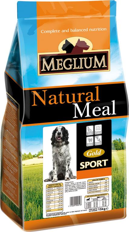 Корм сухой Meglium Sport Gold для активных собак, 15 кг64018Состав: дегидрированное мясо (40%, из которого куриного мяса 16% и говядины 12%), кукуруза, куриный жир, горошек, льняное семя, сушеная мякоть свеклы (2%), дрожжи, минеральные вещества. Пищевые добавки на кг: 3a672a Витамин A 13500 UI, Витамин D3 950 UI, 3a700 Витамин E 115 мг, E4 пентагидрат сульфата меди 47 мг, E1 карбонат железа 50 мг, E5 оксид марганца 62 мг, E6 моногидрат сульфата цинка 148 мг, E2 йодистый калий 1,2 мг, E8 селенит натрия 0,26 мг. Аналитические компоненты: влага 8%, сырой белок 29%, сырые масла и жиры 18%, сырая зола 8,1%, сырая клетчатка 2,6%. Энергетическая ценность: 4100 кКал/кг.