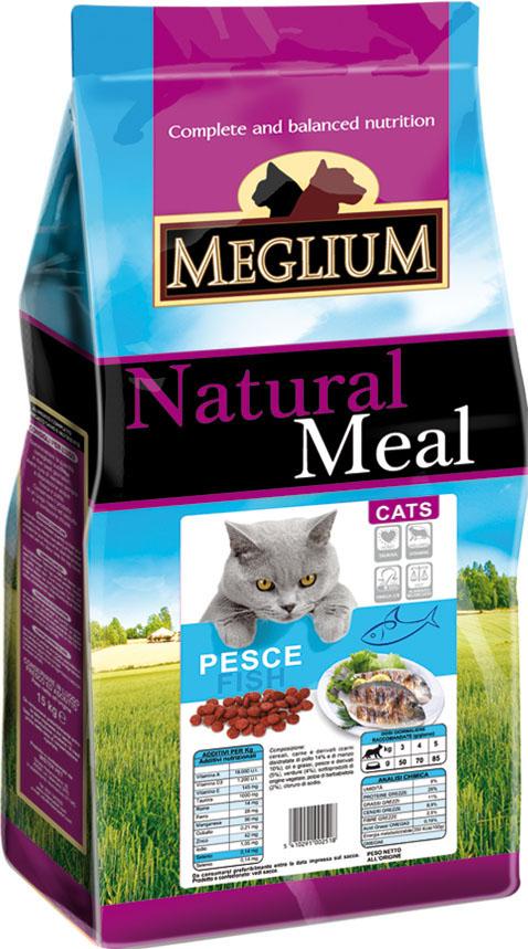 Корм сухой Meglium Adult для кошек, рыба, 15 кг64498Состав: кукуруза, дегидрированное мясо (24%), рыбная мука (14%), пшеница, куриный жир, сушеная мякоть свеклы (2%), минеральные вещества. Пищевые добавки на кг: 3a672a Витамин A 18000 UI, Витамин D3 1200 UI, 3a700 Витамин E 145 мг, E4 пентагидрат сульфата меди 55 мг, E1 карбонат железа 58 мг, E5 оксид марганца 73 мг, E6 моногидрат сульфата цинка 173 мг, E2 йодистый калий 1,4 мг, E8 селенит натрия 0,31 мг, таурин 1000 мг. Аналитические компоненты: влага 8%, сырой белок 28%, сырые масла и жиры 11%, сырая зола 8,1%, сырая клетчатка 2,5%, жирные кислоты Омега-3 0,21%, жирные кислоты Омега-6 2,6%. Энергетическая ценность: 3500 кКал/кг.