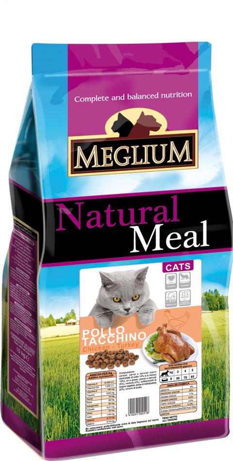 Корм сухой Meglium Adult для кошек, курица индейка, 15 кг64499Состав: дегидрированное мясо (35%, из которого куриного мяса и мяса индейки 16%), кукуруза, пшеница, куриный жир, рыбная мука (3%), сушеная мякоть свеклы (2%), минеральные вещества. Пищевые добавки на кг: 3a672a Витамин A 18000 UI, Витамин D3 1200 UI, 3a700 Витамин E 145 мг, E4 пентагидрат сульфата меди 55 мг, E1 карбонат железа 58 мг, E5 оксид марганца 73 мг, E6 моногидрат сульфата цинка 173 мг, E2 йодистый калий 1,4 мг, E8 селенит натрия 0,31 мг, таурин 1000 мг. Аналитические компоненты: влага 8%, сырой белок 28%, сырые масла и жиры 11%, сырая зола 8,1%, сырая клетчатка 2,5%, жирные кислоты Омега-3 0,19%, жирные кислоты Омега-6 2,6%. Энергетическая ценность: 3500 кКал/кг.