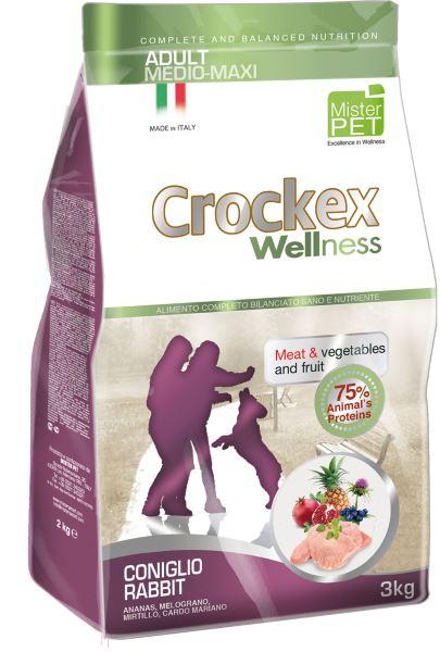 Корм сухой Crockex Wellness для собак средних и крупных пород, кролик с рисом, 3 кг65201Этот полноценный рацион, дополненный функциональными ингредиентами, поддержит здоровье собаки. Сердцевина ананаса способствует правильному функционированию пищеварительной системы, Гранат и Малина являются превосходными источниками витамина С и богаты полифенолами, антиоксидантами и натуральными укрепляющими веществами с антивозрастным эффектом, которые служат для борьбы со свободными радикалами. Расторопша - лекарственное растение, содержащее силимарин и силибинин, вещества, известные своими противовоспалительными свойствами и эффективно защищающие печень. Пребиотики FOS и MOS помогают модулировать кишечную флору, улучшая таким образом усвоение питательных веществ. Использование риса в качестве первого источника углеводов и свежего мяса кролика (15%) обеспечивает высокую перевариваемость и отличную аппетитность рациона. Состав: обезвоженное мясо цыпленка (18%), рис (18%), кукуруза, свежее мясо кролика (15%), кукурузная мука, обезвоженное мясо кролика (12 %), цыплячий жир,...