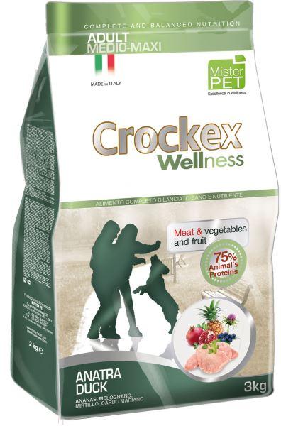 Корм сухой Crockex Wellness для собак средних и крупных пород, утка с рисом, 3 кг65202Этот полноценный рацион, дополненный функциональными ингредиентами, поддержит здоровье собаки. Сердцевина ананаса способствует правильному функционированию пищеварительной системы, Гранат и Малина являются превосходными источниками витамина С и богаты полифенолами, антиоксидантами и натуральными укрепляющими веществами с антивозрастным эффектом, которые служат для борьбы со свободными радикалами. Расторопша - лекарственное растение, содержащее силимарин и силибинин, вещества, известные своими противовоспалительными свойствами и эффективно защищающие печень. Пребиотики FOS и MOS помогают модулировать кишечную флору, улучшая таким образом усвоение питательных веществ. Использование риса в качестве первого источника углеводов и свежего мяса утки (15%) обеспечивает высокую перевариваемость и отличную аппетитность рациона. Состав: обезвоженное мясо цыпленка (18%), рис (18%), кукуруза, свежее мясо утки (15%), обезвоженное мясо утки (12 %), кукурузная мука, цыплячий жир, льняное семя...