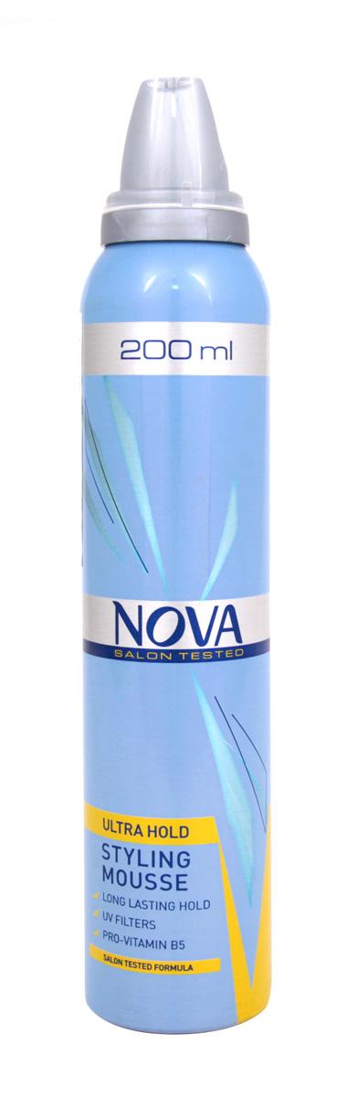 Мусс сверхсильной фиксации Nova 200 мл (желтый)5021156120270Мусс обеспечивает сохранение формы прически на длительное время. Новая формула с провитаминами B5 и питательными компонентами обеспечивает легкое расчесывание при укладке, а UV-фильтры защищают волосы от дополнительных повреждений.