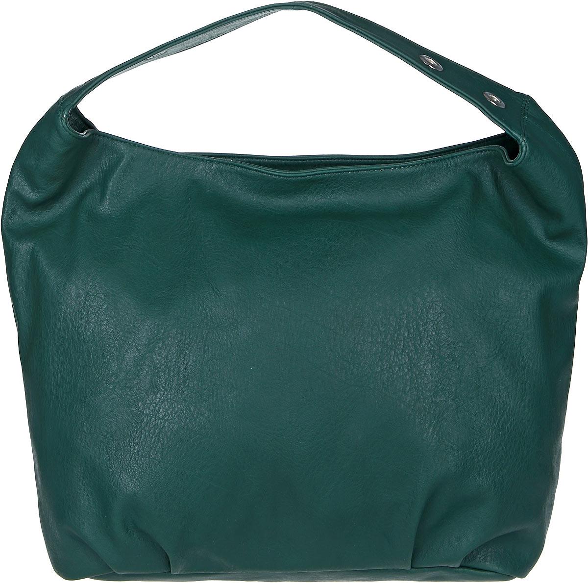 Сумка женская Медведково, цвет: темно-зеленый. 17с3246-к1417с3246-к14Массивная женская сумка Медведково выполнена из искусственной кожи. Модель с одним отделением. Внутри имеется два накладных кармана и прорезной карман на молнии. Задняя стенка дополнена прорезным карманом на молнии. Сумка оснащена ручкой с люверсами.