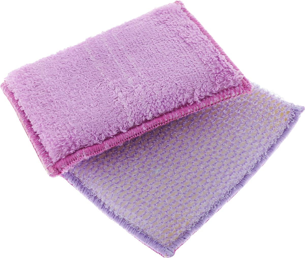 Набор губок для мытья посуды Золушка, цвет: сиреневый, 10 х 14 х 2 см, 2 штAF000008_сиреневыйНабор губок для мытья посуды Золушка, цвет: сиреневый, 10 х 14 х 2 см, 2 шт