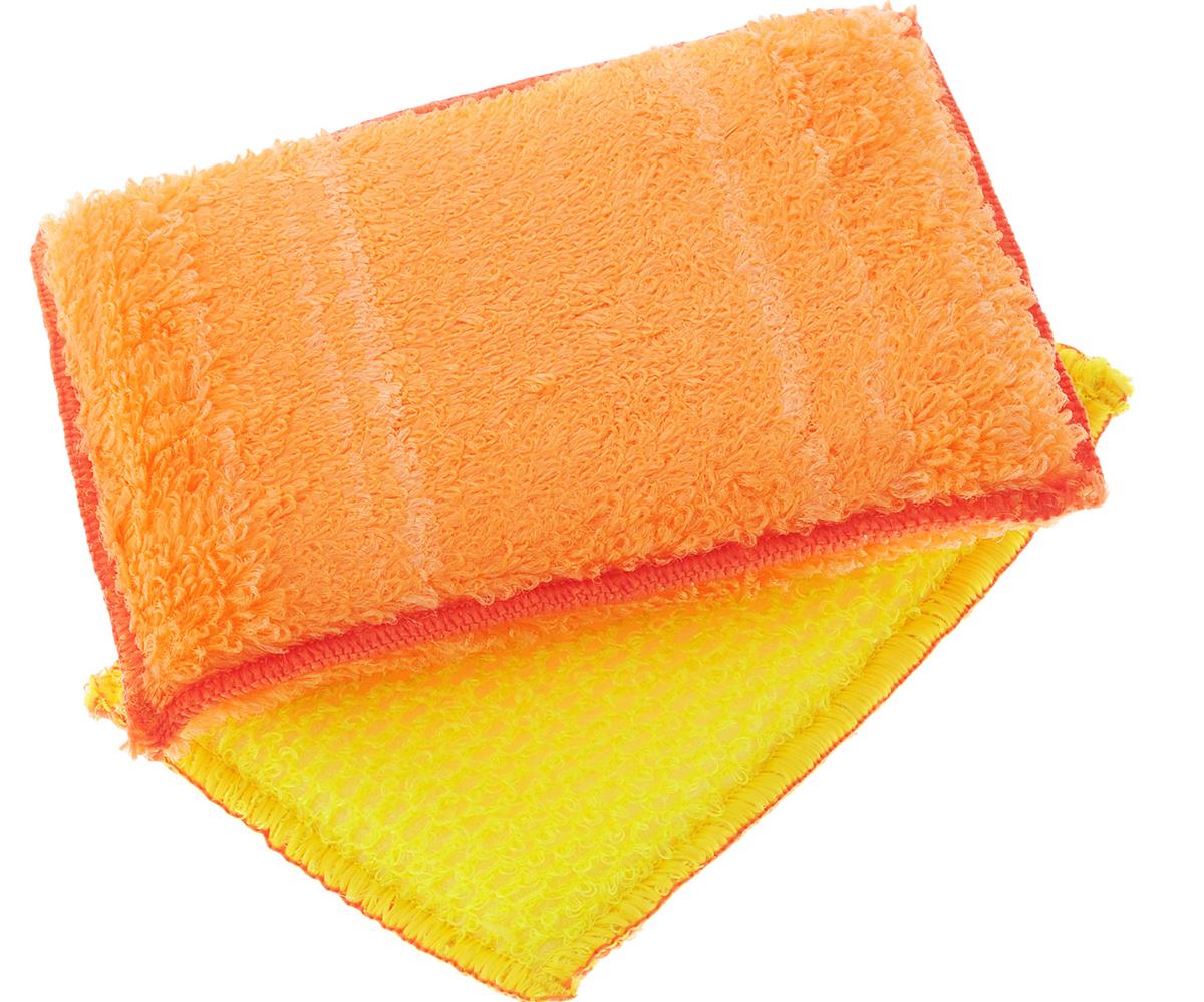 Набор губок для мытья посуды Золушка, цвет: оранжевый, 14 х 10 х 2 см, 2 штAF000008Губками из бамбукового волокна можно не только мыть посуду, но и использовать их для уборки. Одна губка с одной стороны имеет жесткую структуру для чистки сильнозагрязненных поверхностей, с другой - более мягкую. Вторая губка полностью мягкая. Для мытья посуды можно использовать только чистую воду, без добавления моющих средств. В упаковке 2 губки.