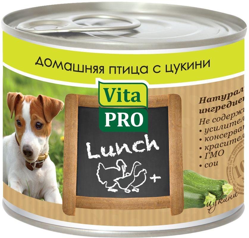 Консервы Vita ProLunch для собак, домашняя птица и цукини, 200 г90059Корм, сочетающий высококачественное мясо с овощными и злаковыми добавками и обеспечивающий полноценный ежедневный рацион. Без консервантов, красителей, усилителей вкуса.