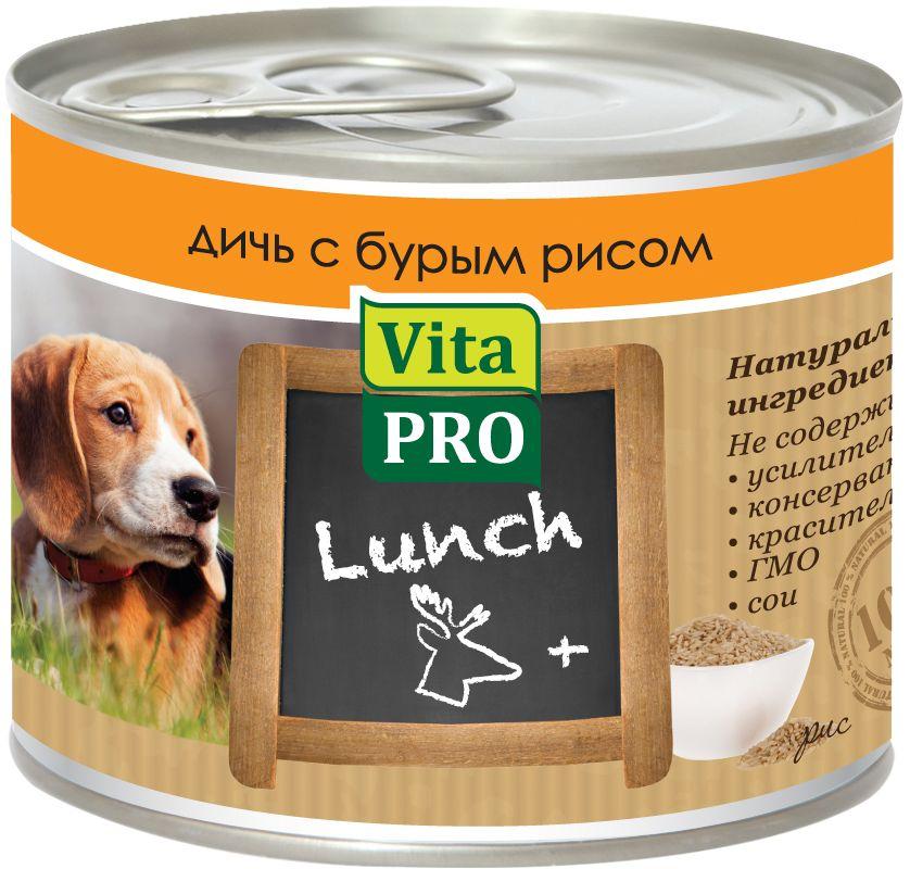 Консервы Vita ProLunch для собак, дичь и рис, 200 г90062Корм, сочетающий высококачественное мясо с овощными и злаковыми добавками и обеспечивающий полноценный ежедневный рацион. Без консервантов, красителей, усилителей вкуса.