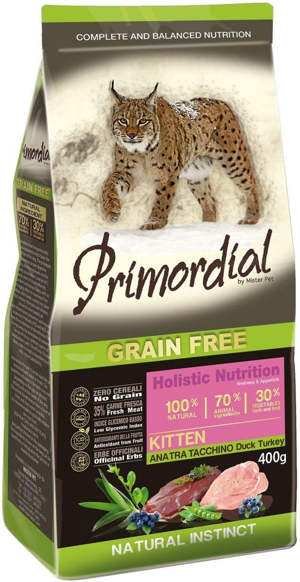 Корм сухой Primordial для котят, с уткой и индейкой, 400 гMGSP10400Беззерновой корм класса холистик. Специально отобранные виды мяса и рыбы поддерживают низкий гликемический индекс, гарантируют высокую аппетитность и перевариваемость корма.