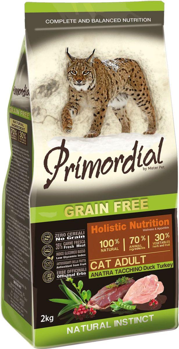 Корм сухой Primordial для кошек, беззерновой, утка и индейка, 2 кгMGSP1102Беззерновой корм класса холистик. Специально отобранные виды мяса и рыбы поддерживают низкий гликемический индекс, гарантируют высокую аппетитность и перевариваемость корма.