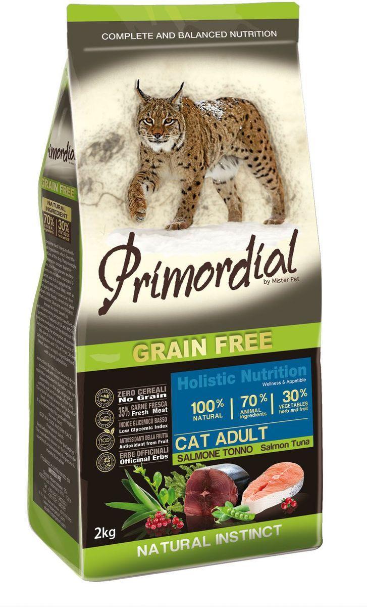 Корм сухой Primordial для кошек, беззерновой, лосось и тунец, 2 кгMGSP1202Беззерновой корм класса холистик. Специально отобранные виды мяса и рыбы поддерживают низкий гликемический индекс, гарантируют высокую аппетитность и перевариваемость корма.