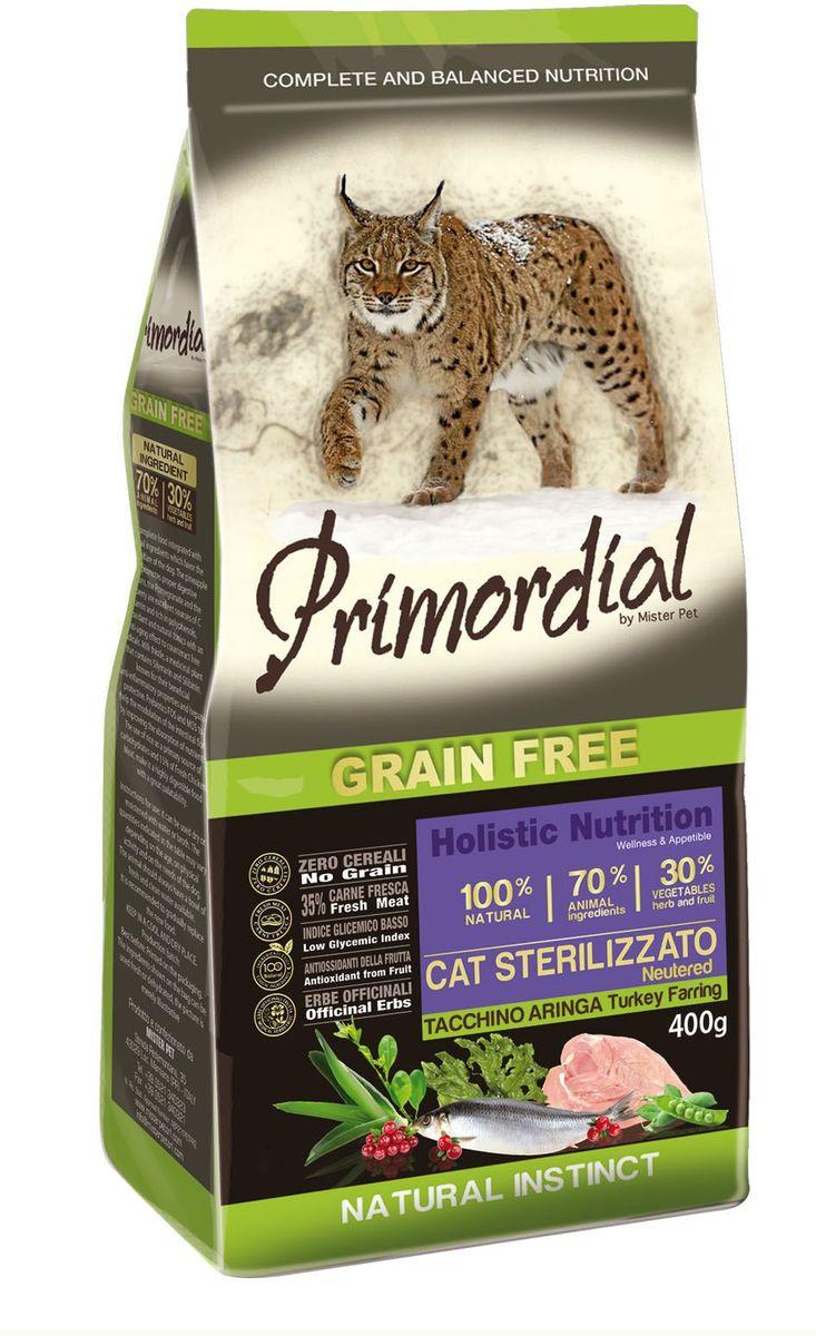 Корм сухой Primordial для стерилизованных кошек, беззерновой, индейка и сельдь, 400 гMGSP13400Беззерновой корм класса холистик. Специально отобранные виды мяса и рыбы поддерживают низкий гликемический индекс, гарантируют высокую аппетитность и перевариваемость корма.