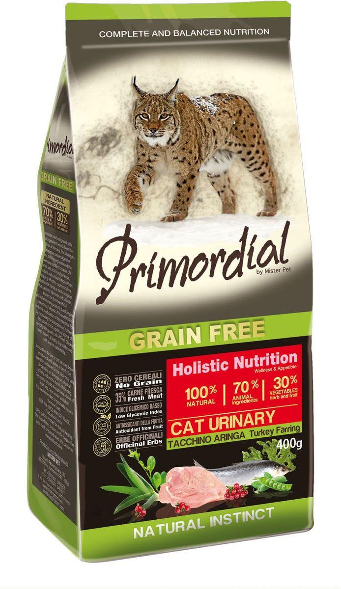 Корм сухой Primordial для кошек с мочекаменной болезнью, беззерновой, индейка и сельдь, 400 гMGSP14400Беззерновой корм класса холистик. Специально отобранные виды мяса и рыбы поддерживают низкий гликемический индекс, гарантируют высокую аппетитность и перевариваемость корма.
