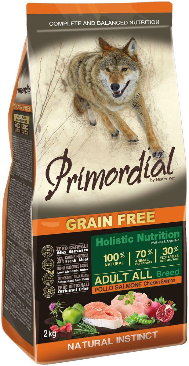 Корм сухой Primordial для собак, беззерновой, курица и лосось, 2 кгMSP5202Беззерновой корм класса холистик. Специально отобранные виды мяса и рыбы поддерживают низкий гликемический индекс,гарантируют высокую аппетитность и перевариемость корма.