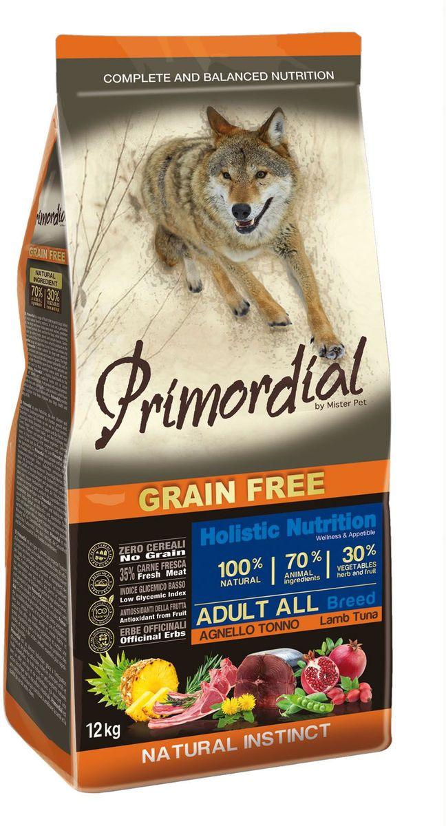 Корм сухой Primordial для собак, беззерновой, тунец и ягненок, 12 кгMSP5312Беззерновой корм класса холистик. Специально отобранные виды мяса и рыбы поддерживают низкий гликемический индекс,гарантируют высокую аппетитность и перевариемость корма.