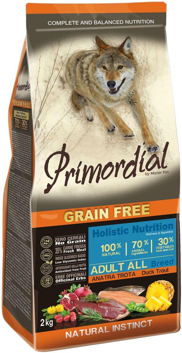 Корм сухой Primordial для собак, беззерновой, форель и утка, 2 кгMSP5402Беззерновой корм класса холистик. Специально отобранные виды мяса и рыбы поддерживают низкий гликемический индекс,гарантируют высокую аппетитность и перевариемость корма.
