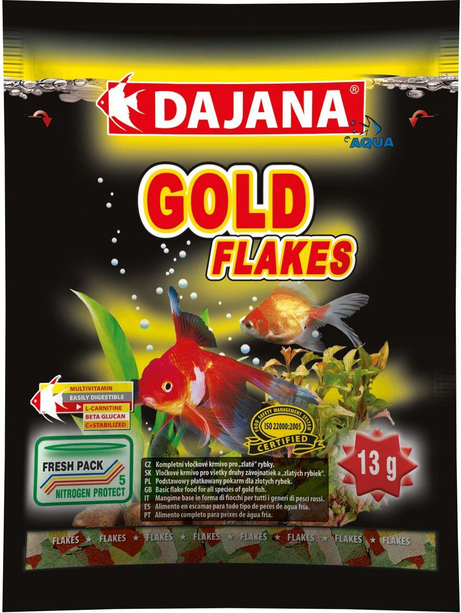 Корм для рыб Dajana Gold Flakes, 80 млDP001SКомплексный хлопьеобразный корм для золотых рыбок. Содержит натуральные вещества природные колоранты, минералы и витамины, которые поддерживают красоту, здоровье, иммунитет и естественную окраску рыб.